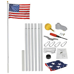20ft Aluminum Sectional Flagpole Kit Gold Ball And 1 Free Us Flag Heavy Duty