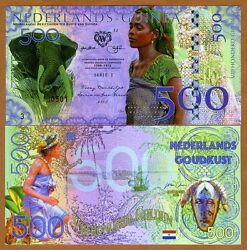 Netherlands Guinea Ghana 500 Gulden 2016 Private Issue Polymer Unc Elephant