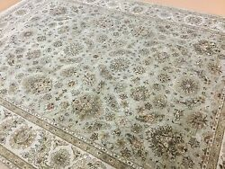 9 X 12 Soft Green Beige Kashan Persian Oriental Area Rug All Over Hand Knotted