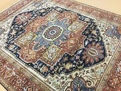 8' X 10' Navy Blue Rust Very Fine Geometric Oriental Area Rug Hand Knotted