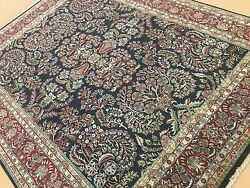 8 X 10 Navy Blue Red Fine Quality Traditional Oriental Area Rug Hand Knotted