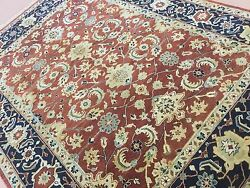 8and039 X 10and039 Rust Navy Blue Oushak Oriental Area Rug Geometric Hand Knotted Wool