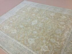 8and039 X 10and039 Soft Light Brown Rust Beige All-over Oushak Oriental Rug Hand Knotted