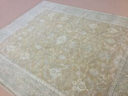 8' X 10' Soft Light Brown Rust Beige All-over Oushak Oriental Rug Hand Knotted