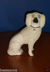 Antique Creamy White Staffordshire Figurine Poodle Dog Med Marked Cabinet Size