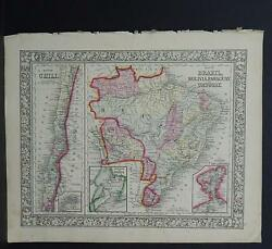 Antique Map Mitchell 1865 Chile Brazil Bolivia Paraguay M810