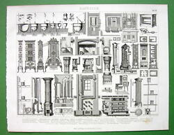 Chimneys Heating And Cooking Equipment In Buildings - 1870 Antique Print