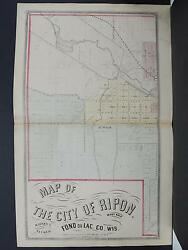 Wisconsin, Fond Du Lac County Map 1874 City Of Ripon 2-pages L2186