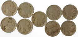 Lot Of 9 1913 Type 1 .05 Cent Buffalo Nickels Us Mint Coins