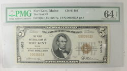 1929 Small Size National Currency Bank Of Fort Kent Pmg Certified Cu 64