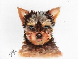 Original Oil DOG Portrait Painting YORKSHIRE TERRIER YORKIE Puppy Artwork SIGNED