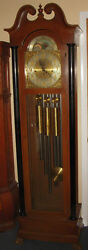 BREITINGER WESTMINSTER TUBULAR CHIME TALLCASE GRANDFATHER HALL CLOCK MOON DIAL