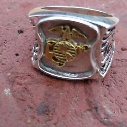 Usmc United States Marine Corps Sterling Silver Military Ring W Brass Emblem