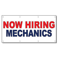 Now Hiring Mechanics Red Blue 13 Oz Vinyl Banner Sign With Grommets