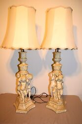 Vintage Mid Century Pair Of Chalkware Cherub Table Lamps Very Large And Heavy