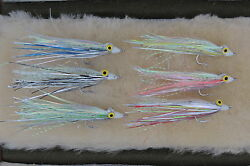 6 Flash Clouser Fly Fishing Flies For Saltwater Warm Water Bass Pike Trout 2/4/6