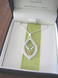 Trinity Knot Drop Pendant Necklace with Green & White CZ JMH Jewellery Dublin