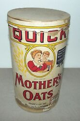 Vintage Quick Mothers Oats Cardboard Canister 3 Lbs Pounds Quaker Oats Company