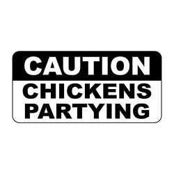 Caution Chicken Partying Retro Vintage Style Metal Sign - 8 In X 12 In