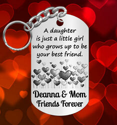 Hearts * Keychain Gift for DAUGHTER Personalized for FREE with NAMES Engraved $9.95