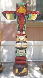 6and039 Totem Pole 6 Ft Peyote Bird Carved Sculpture By Native American F Gallagher