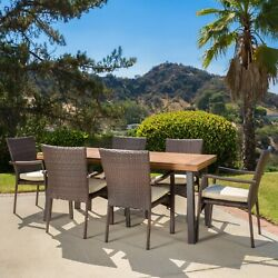Castlelake 7 Piece Outdoor Dining Set Wood Table W/ Wicker Chairs