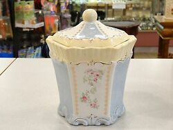 Authentic Vintage Simply Shabby Chic Porcelain Carousel Cookie Candy Jar
