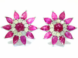 6.47ct Rubis And Diamant Earrings In 18k Or Blanc