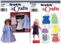 2 Simplicity Oop Patterns 7449 And 7688 Doll Dress Clothes Fits 18 American Girl