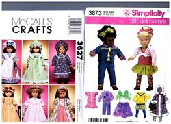 Mccalls Simplicity Oop Patterns 3873 And 3627 Doll Clothes Fits 18 American Girl