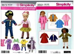 2 Simplicity Oop Patterns 3551 And 3873 Doll Dress Clothes Fits 18 American Girl
