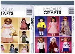 2 Oop Mccalls Patterns 2061 And 3900 Doll Clothes Dresses Fits 18 American Girl