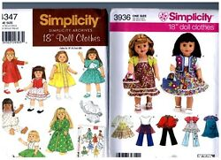 2 Simplicity Oop Patterns 3936 And 4347 Doll Dress Clothes Fits 18 American Girl
