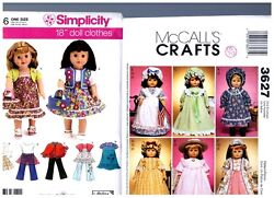 Mccalls Simplicity Oop Patterns 3627 And 3936 Doll Clothes Fits 18 American Girl