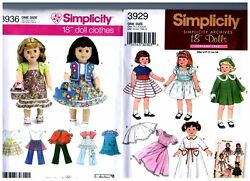 2 Simplicity Oop Patterns 3929 And 3936 Doll Dress Clothes Fits 18 American Girl