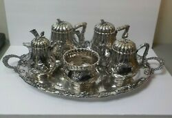 AMERICAN COIN SILVER 5-PC TEA SET MATCHING SPLATE TRAY BOSTON c. MID-1800's
