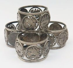 4 Antique Victorian 835 Silver Napkin Rings Cutout 2 Reales Guatemala Coins 159g