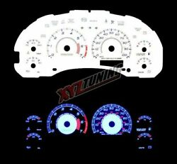 BLUE Reverse El Indiglo Glow White Gauge Face For 98-05 Blazer/Jimmy MT 7000 RPM