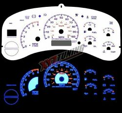 BLUE Reverse El Indiglo Glow White Gauge Face For 99-02 Sierra 1500/2500/3500