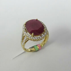 6.63 Ct Oval Ruby And Diamond Ring F Si1 18k Yellow Gold