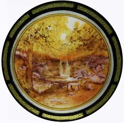 Rare Antique Victorian Painted Stained Glass Roundel Yorkshire Dales Waterfall