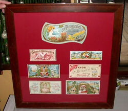 Antique Original 1920and039s -30and039s Framed Mounted Advertising Soap Labels