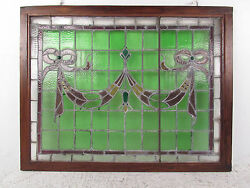 Vintage Stained Glass Ribbon Hanging Window 1265nj