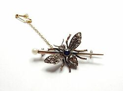 Antique Bee Brooch Gold Sapphires Diamonds And Ruby Eyes