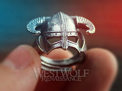 SKYRIM Dragonborn Iron Helmet Ring in 925 Sterling Silver Size 8 9 10 11 12 13