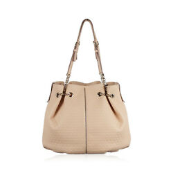 Authentic Tod's Beige Embossed Leather Bucket Shoulder Bag Tote Shopping Bag