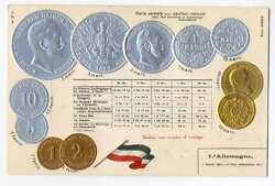 Germany German Empire Coins On Ad Postcard Ca 1906 Rare Mint Condition