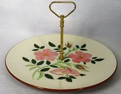 Stangl China Wild Rose Pattern Tidbit Serving Tray With Handle - 10-1/8