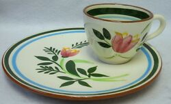 Stangl China Country Garden Pattern Snack Cup And Saucer Set