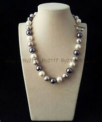 18 Inch Rare Huge 12mm Real Black White Gray Mix South Sea Shell Pearl Necklace